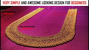 aari maggam full beads work silk saree blouse design for beginners