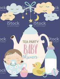 invitation card for baby shower tea party stock vector art