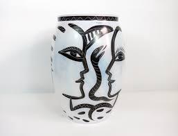 Kosta Boda Atoll Vase Vintage Large Kosta Boda Caramba Vase White U0026 Black Glass