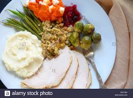 traditional food served at thanksgiving including turkey mashed