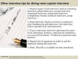 Top  Dining Room Captain Interview Questions And Answers - Dining room supervisor job description