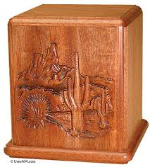 creamation urns mahogany cremation urn with desert cactus