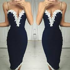 navy blue white lace plunging neckline sleeveless bodycon midi
