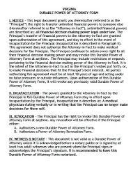 free durable power of attorney virginia form u2013 adobe pdf