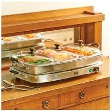 tru triple buffet server with 3 2 1 2 quart oval removable inserts