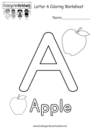 letter a coloring worksheet free kindergarten english worksheet