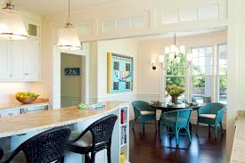 decorating blue chairs and bookshelves on breakfast bar plus