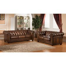 Amax Hickory Chesterfield Genuine Leather Sofa And Loveseat Set - Hickory leather sofa