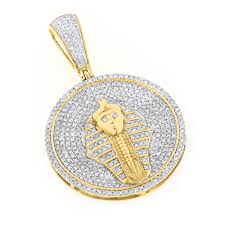 diamond necklace charms images 10k gold egyptian pharaoh head diamond pendant king tut charm jpg
