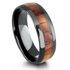 wood mens wedding bands 8mm mens wood wedding band crafted out of ceramic koa wood