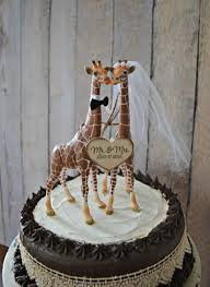 giraffe wedding cake topper zoo jungle theme mr mrs wood