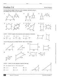 Similar And Congruent Figures Worksheet Practice 7 2 Similar Polygons 10th 12th Grade Worksheet