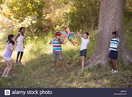friends cheering for blindfolded boy hitting pinata hanging on
