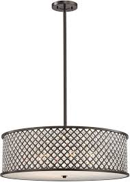 Drum Light Pendant Elk 32106 6 Genevieve Rubbed Bronze Drum Pendant Hanging Light