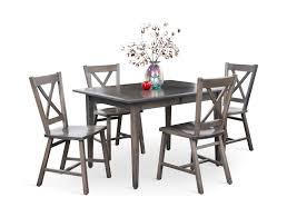 eagle mountain grey maple dining table and 4 side chairs hom