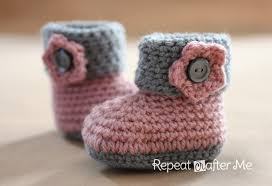 crochet cuffed baby booties pattern repeat crafter me
