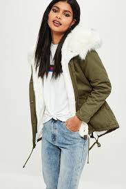 petite khaki faux fur lined parka coat missguided