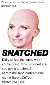 Barbra Streisand Meme - when i found out barbra streisand was going on tour snatched did y