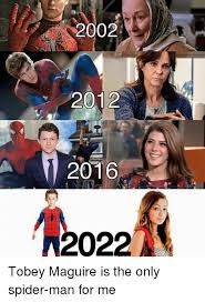 Meme Tobey Maguire - 2002 2012 2016 2022 tobey maguire is the only spider man for me