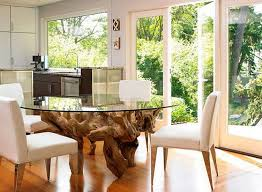Small Glass Dining Room Tables Kitchen Dining Tables Oak Root Leg Glass Dining Table Small