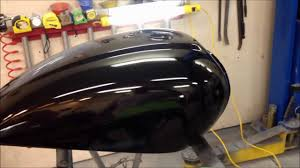 How To Spray Metallic Paint - finishing a paint job on motorcycle a gas tank at the ugg sanding