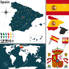 Spain Map World by Map Of Spain With Regions Coat Of Arms And Location On World