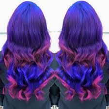 blue indigo violet and magenta color melt ombre hair