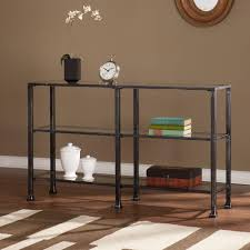 glass top sofa table southern enterprises black and distressed silver glass top console