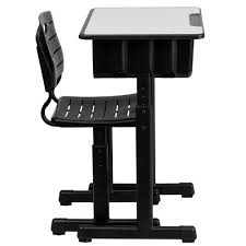 Black Desk And Chair Adjustable Height Student Desk And Chair With Black Pedestal Frame