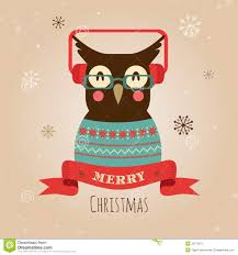 vector illustration of owl merry christmas card stock image