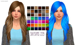 sims 4 blue hair nessa sims skysims 229 hairstyle retextured sims sims cc and ts4 cc
