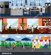 vector banner restaurant interiors kitchen dining stock vector