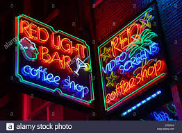 neon lights of the light bar coffeeshop where taking and