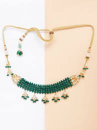 plated choker necklace images Buy green onyx gold plated kundan handcrafted choker necklace jpg