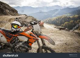 animal motocross helmet dirty motorcycle motocross helmet on road stock photo 256770205