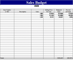 Excel 2007 Budget Template Sales Budget