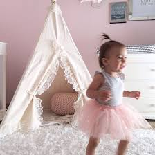 little brave ones kids teepee tents natrual ruffle lace teepee