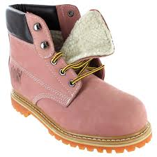 womens work boots safety ii sheepskin lined work boots light pink