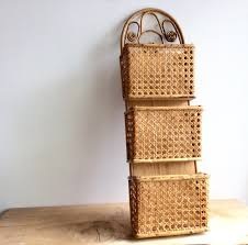 Wall Hanging Mail Organizer Mail Organizer Wall Mount Mail Sorter 3 Pocket Woven Cane Mail