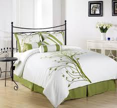 Master Bedroom Designs Green Elegant Green Floral Pattern White Comforter Master Bed Sheet At