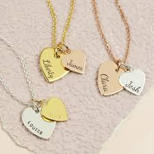 double heart necklace images Personalised vermeil double heart charm necklace lisa angel jpg