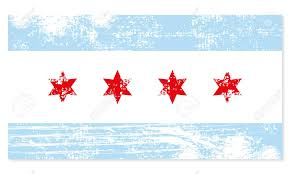 Chicagos Flag Chicago Flag Shabby Retro Style Stylish Illustration Royalty Free