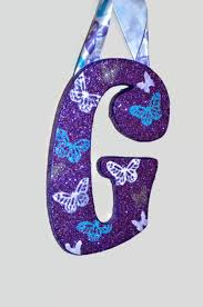 glitter butterfly purple turquoise white decorative wall letters