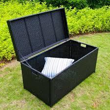 black wicker patio storage deck box jeco
