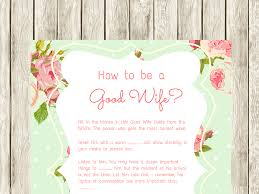 good housewife guide how to be a good wife bridal shower games mint magical printable