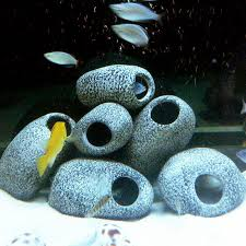 ceramic rock cave ornament stones for fish tank filtration