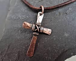 men s religious jewelry copper cross etsy