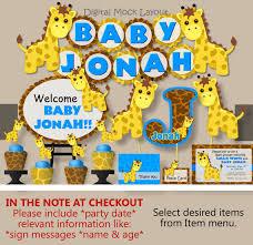 giraffe baby shower decorations blue giraffe baby shower decorations or 1st birthday