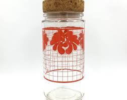 Red Glass Kitchen Canisters by Red Canisters Etsy