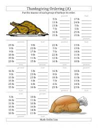 thanksgiving worksheets 4th grade ravishing comparing turkey numbers to 50 a math worksheets